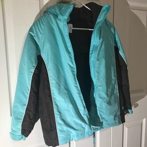 Other - Teal Blue/Brown Snow Jacket With Hood